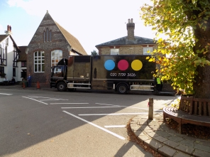 Film van outside Village Hall